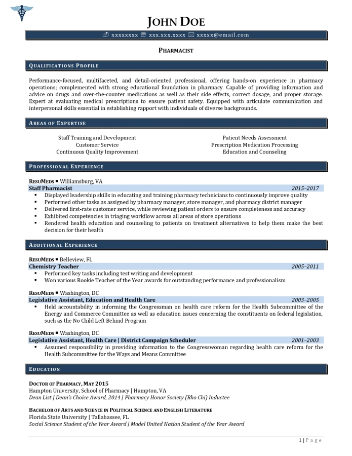 pharmacist resume example page 1