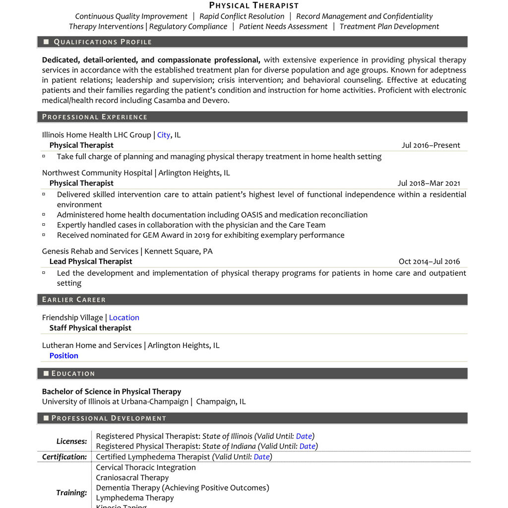 Physical Therapist Resume Sample and Tips