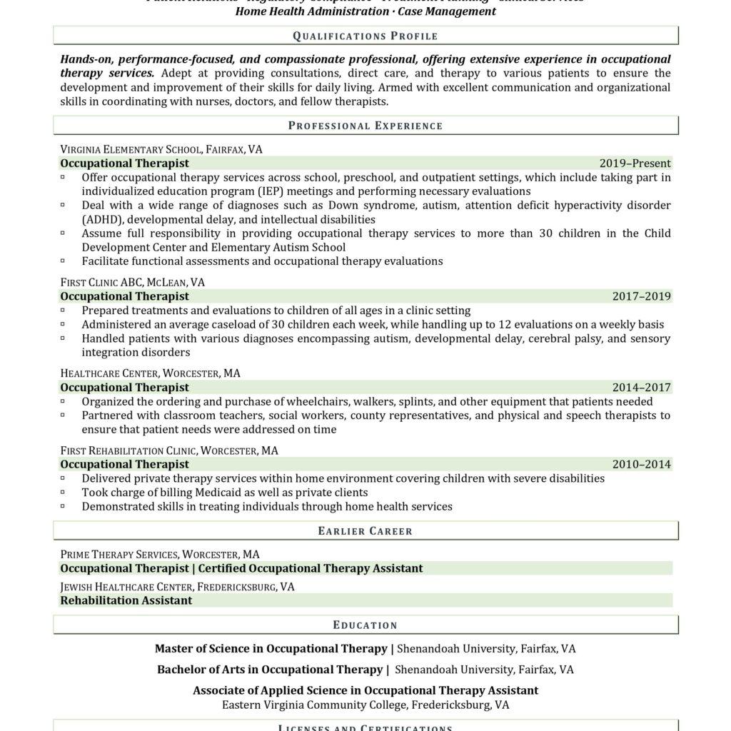 Occupational therapist resume sample